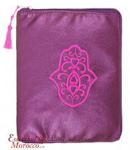 "Tablet Pouch with Hamsa Design Suitable for Ipads Handmade Metallic Purple 26cm x 21cm /10.2"" x 8.3"""
